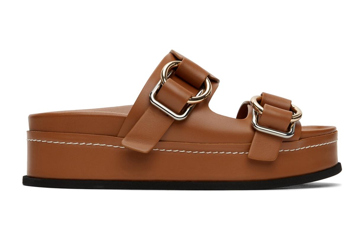 3.1 Phillip Lim Tan Freida Double Buckle Platform Sandals