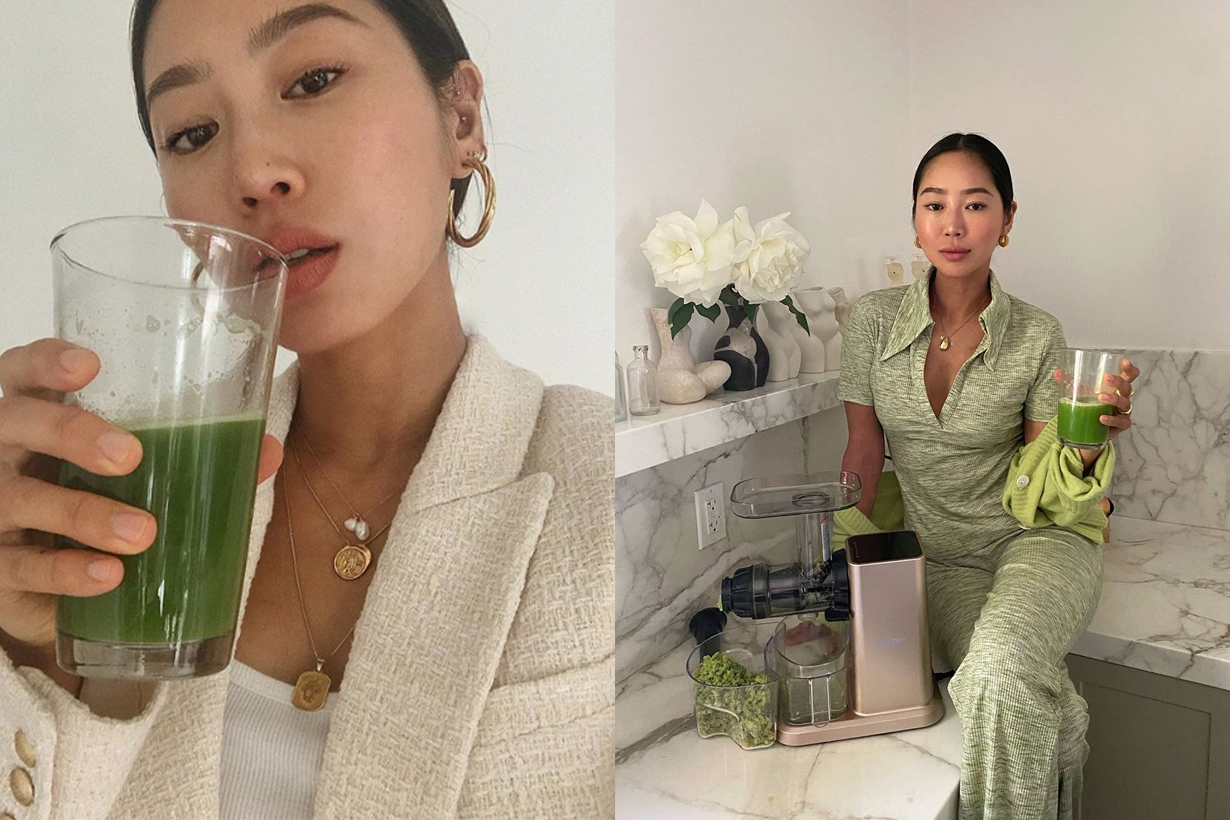 Aimee Song Song of Style Fashion Blogger Fashionista Influencers Instagram Hit Celery Juice Healthy Diet Keep Fit Detox 3 celery juice challenge