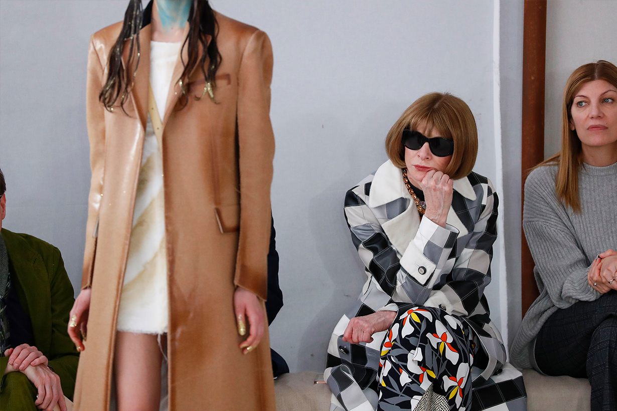 Anna Wintour during the Marni fashion show as part of Milan Fashion Week Fall/Winter 2020-2021 on February 21, 2020 in Milan, Italy.