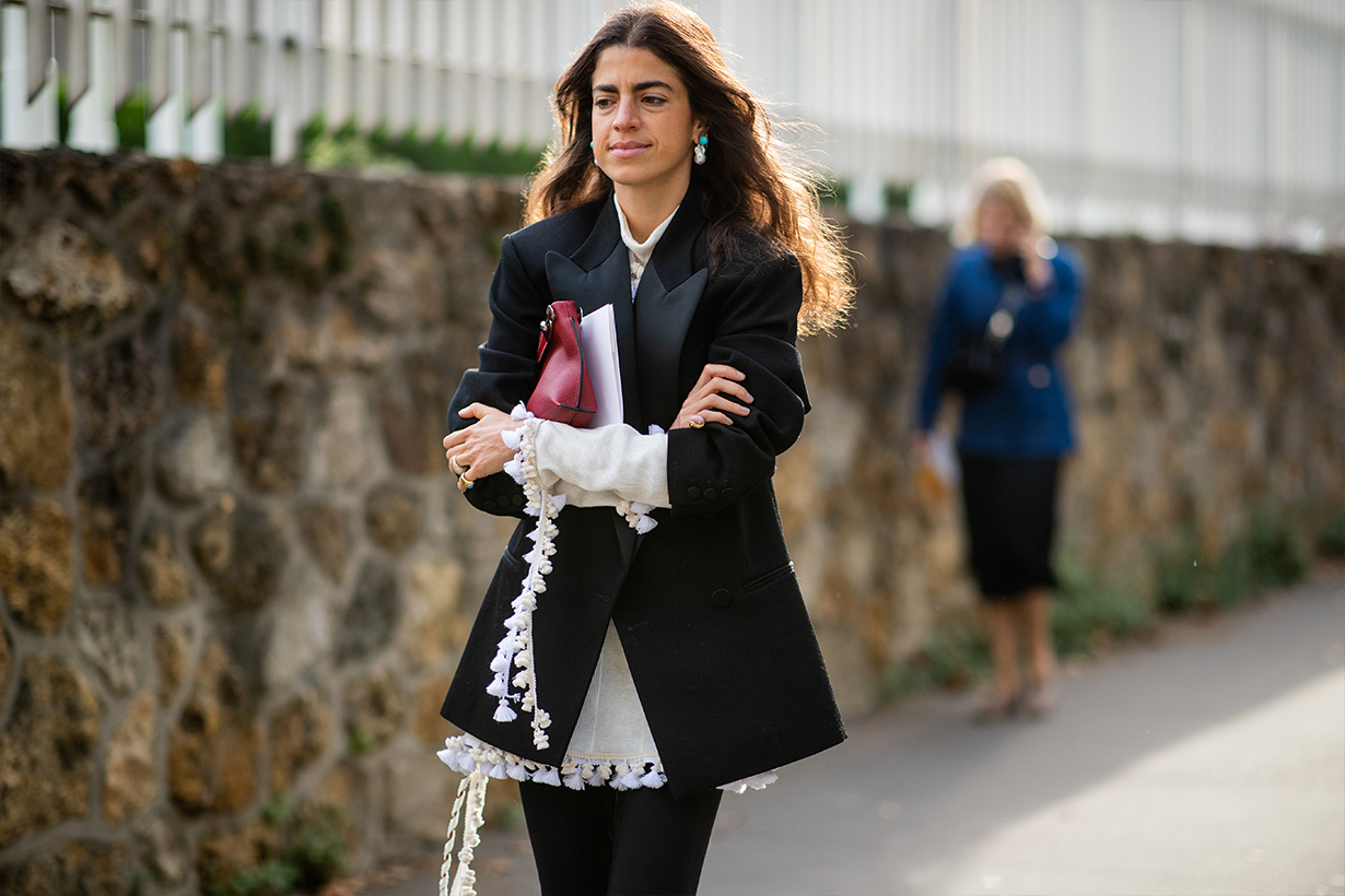 Leandra Medine is seen outside Loewe during Paris Fashion Week Womenswear Spring/Summer 2019 on September 28, 2018 in Paris, France.
