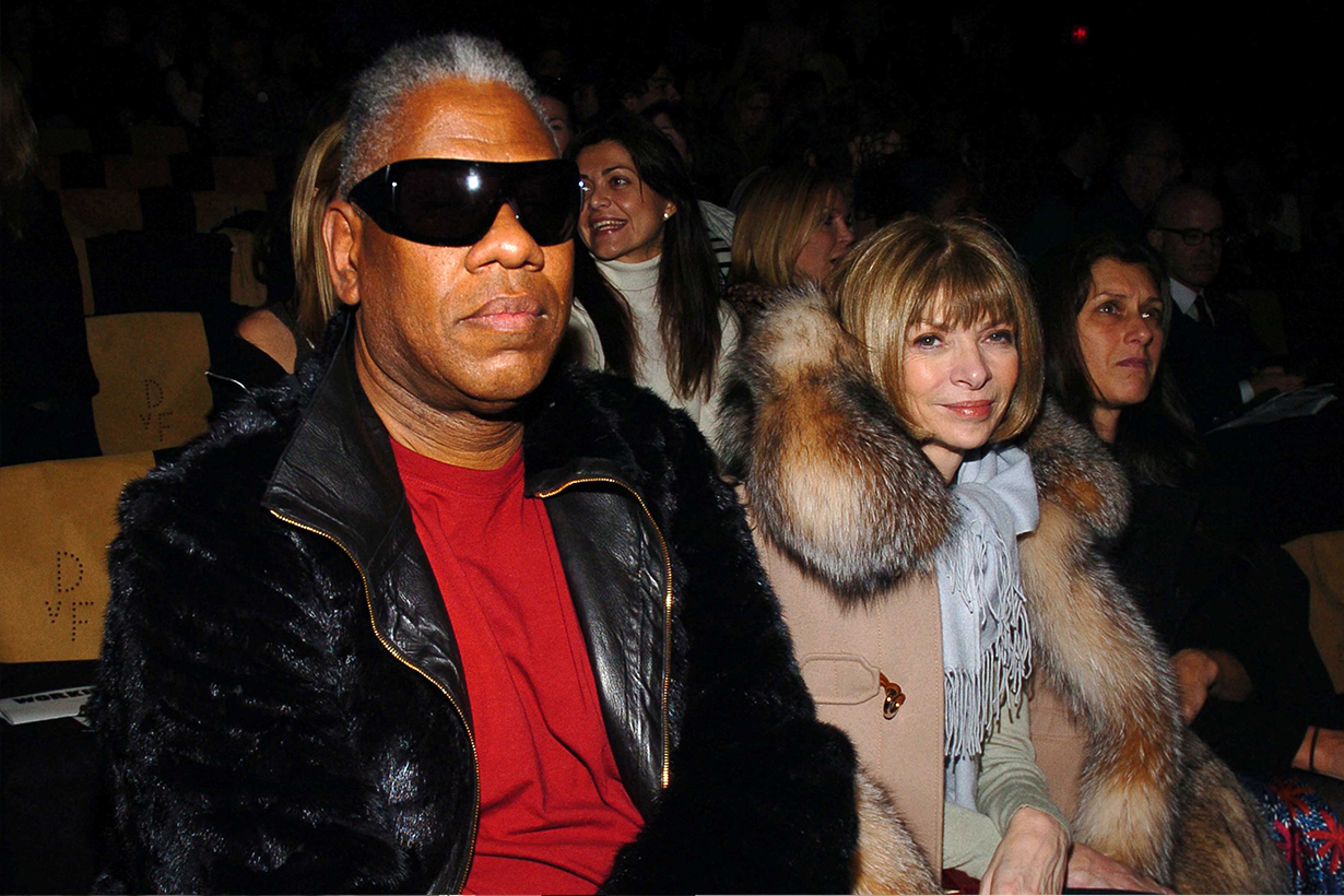 André Leon Talley and Anna Wintour attend Diane von Furstenberg Fall 2006 Fashion Show Front Row at The Tent at Bryant Park on February 5, 2006 in New York.