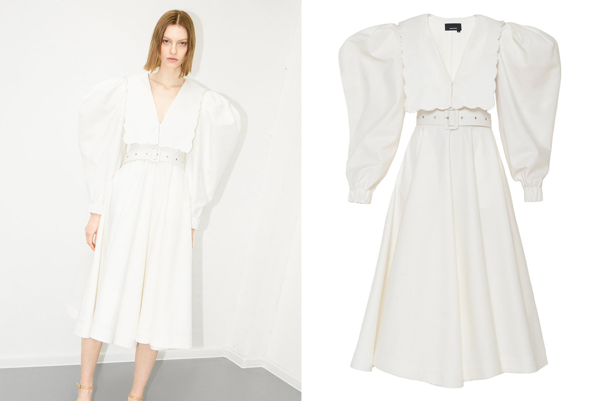 Anouki Puff Sleeve Puritan Collar White Dress With Crystal Embroidery Details