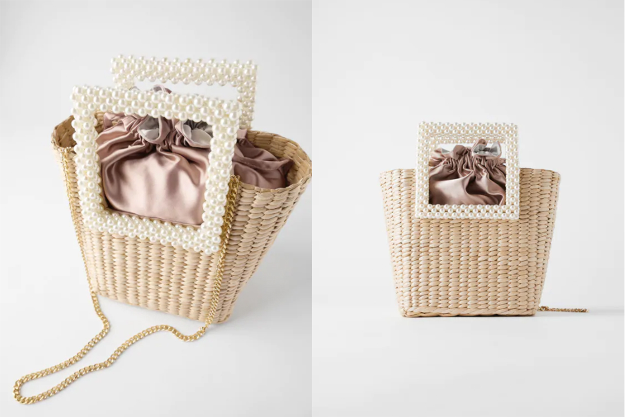 BASKET BAG WITH FAUX PEARL HANDLES