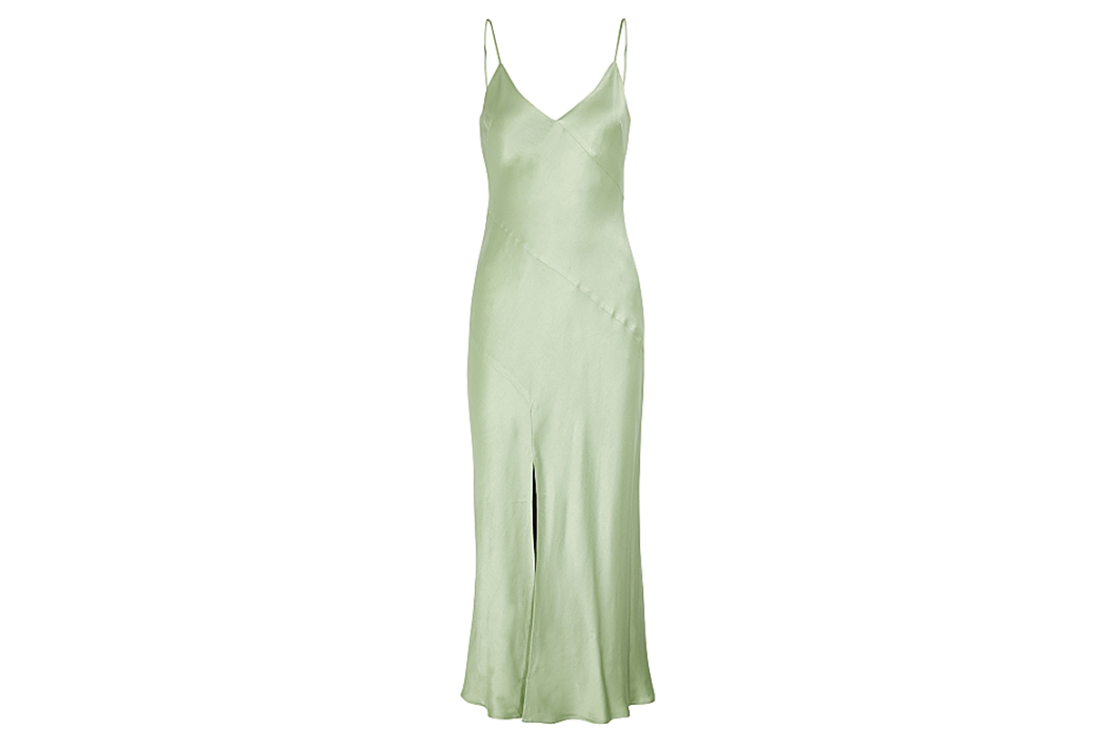 BEC & BRIDGE Crest light green satin midi dress