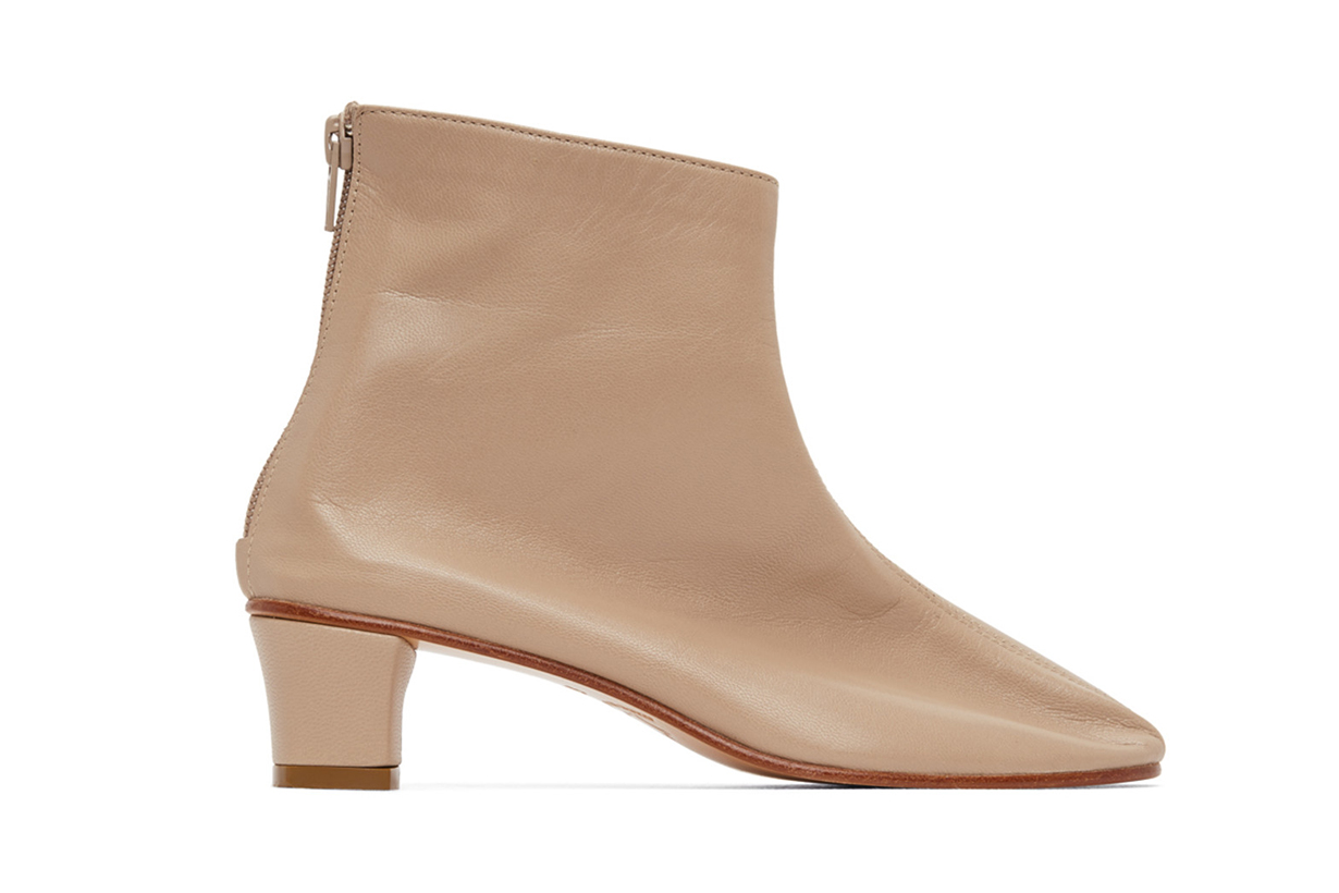 Beige High Leone Ankle Boots