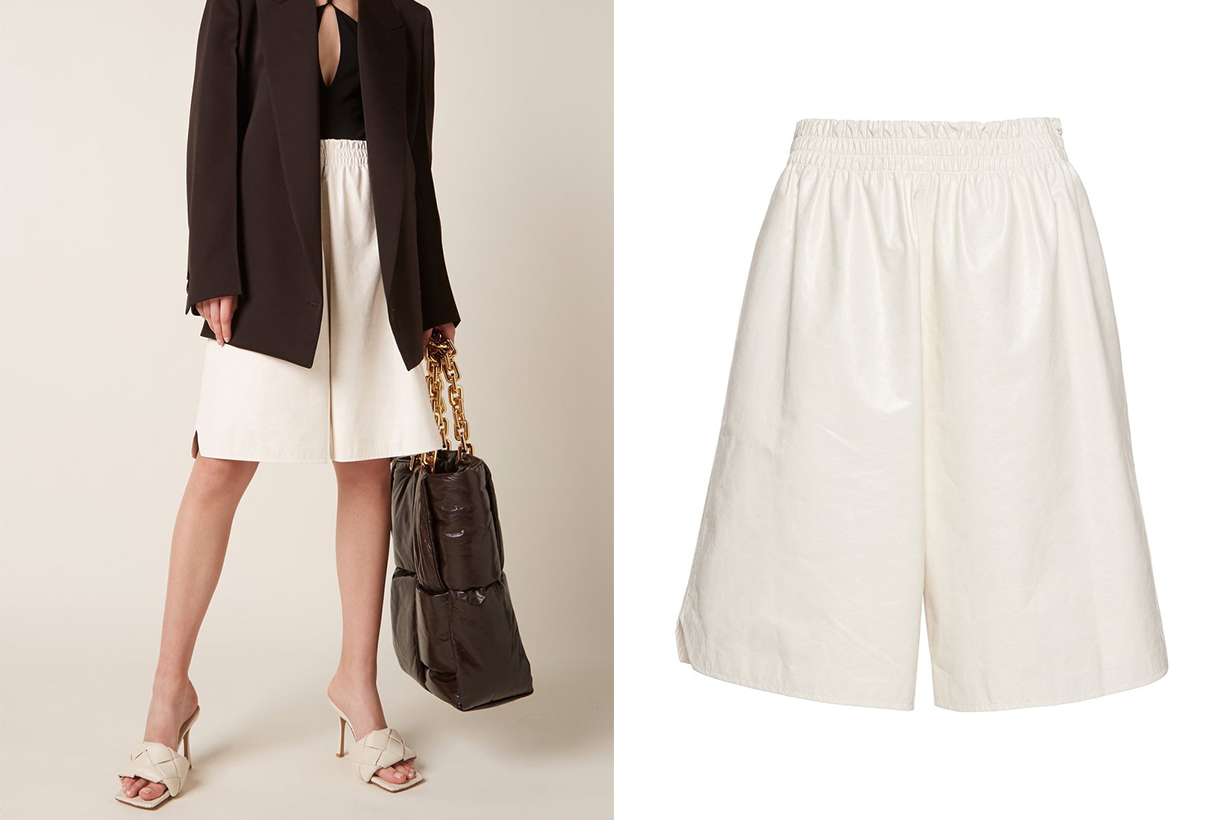 Bottega Veneta Long Leather Shorts