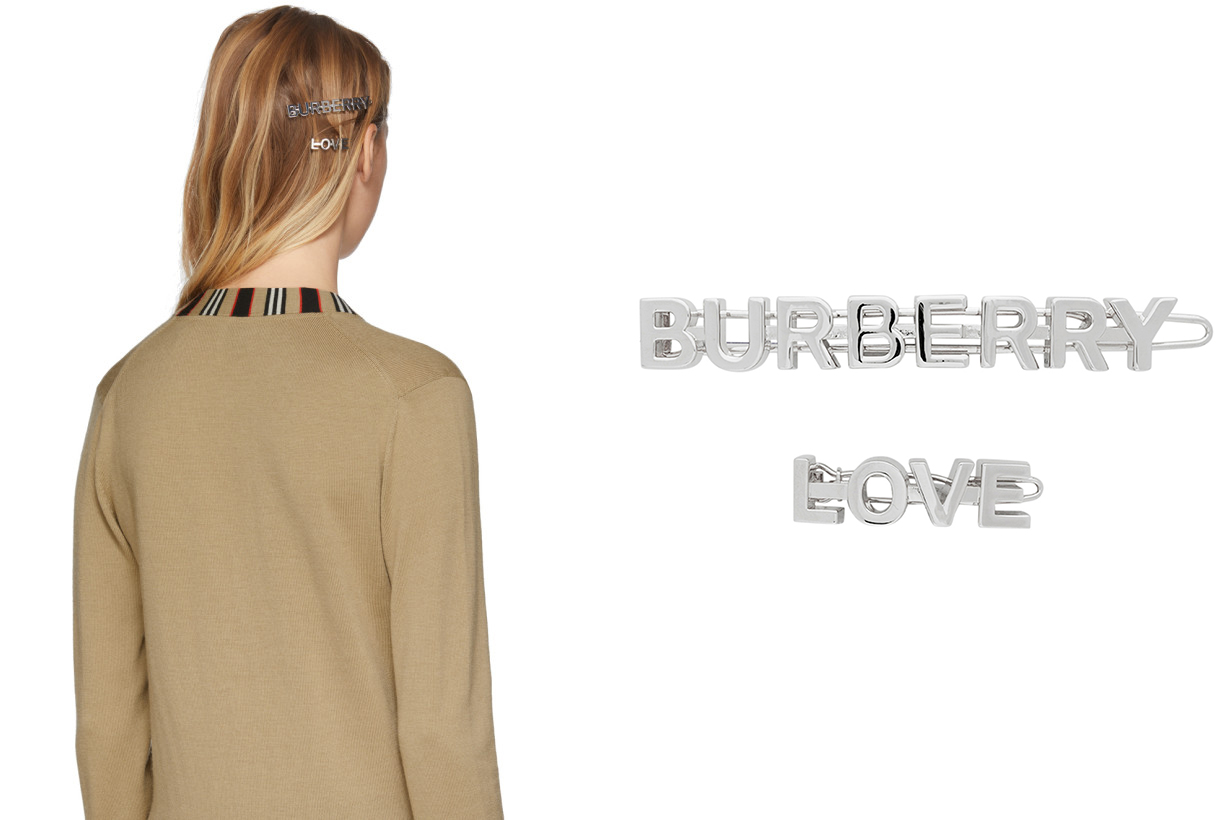Burberry Silver Logo & 'Love' Hair Clips