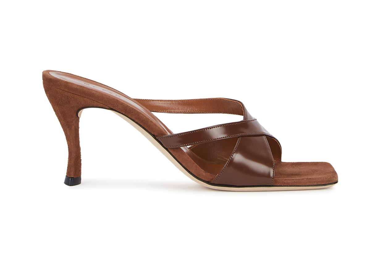 BY FAR Kitty 75 brown leather mules
