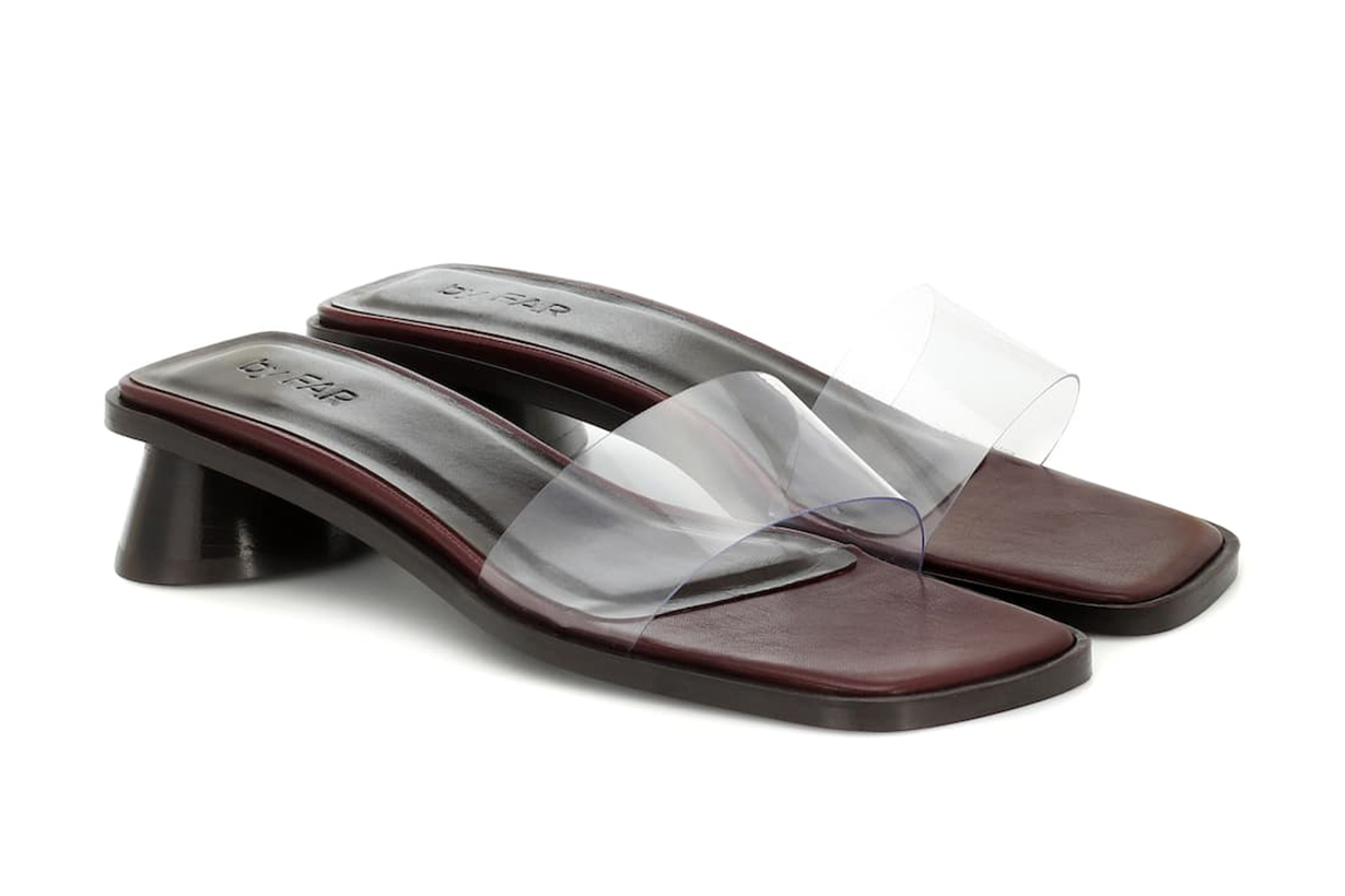 BY FAR Sonia PVC and leather sandals