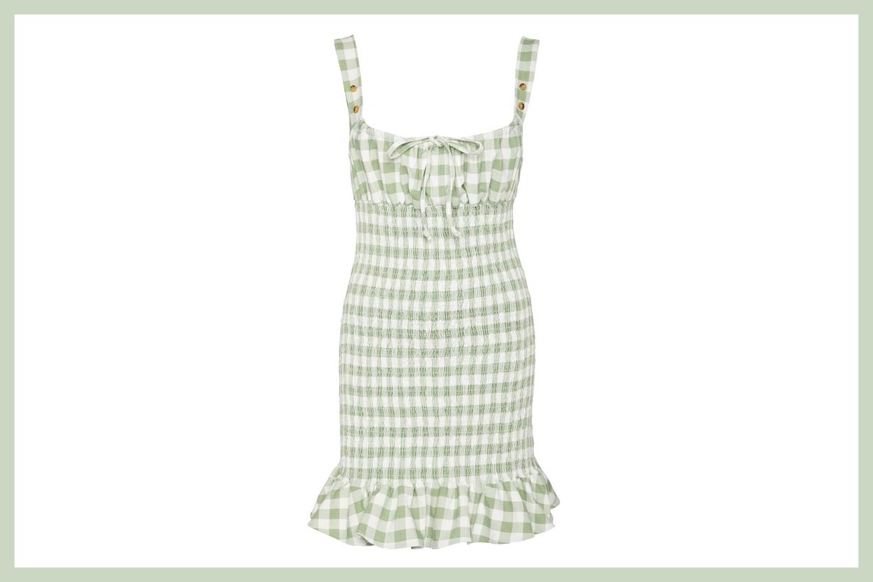 Ciao Lucia Cara Gingham Shirred Poplin Mini Dress