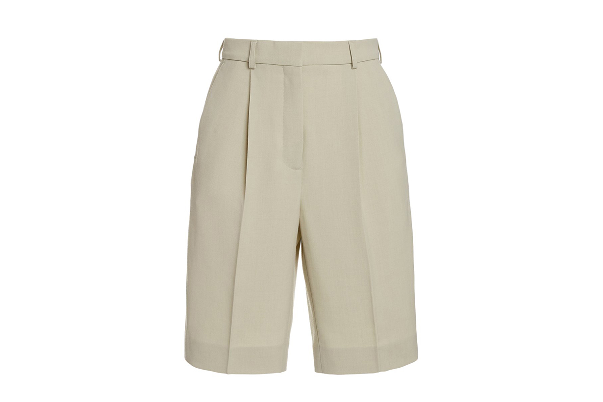 Acne Studios Ruthie Pleated Wool-Blend Knee-Length Shorts