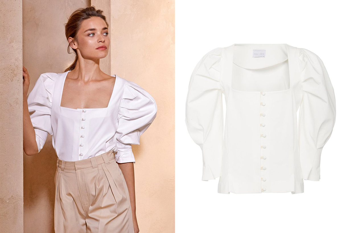 Piece of White Bridgette Puff-Sleeve Button-Detailed Shirt