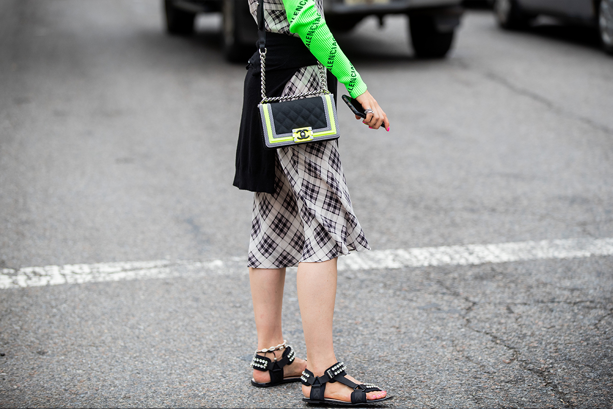 Jessica Minkoff is seen wearing sandals, Chanel bag outside Sally LaPointe during New York Fashion Week September 2019 on September 10, 2019 in New York City.