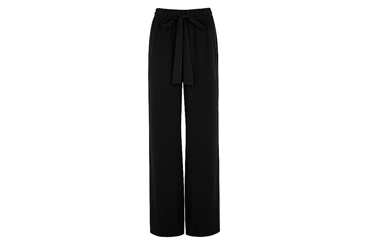 DIANE VON FURSTENBERG Denise black wide-leg georgette trousers