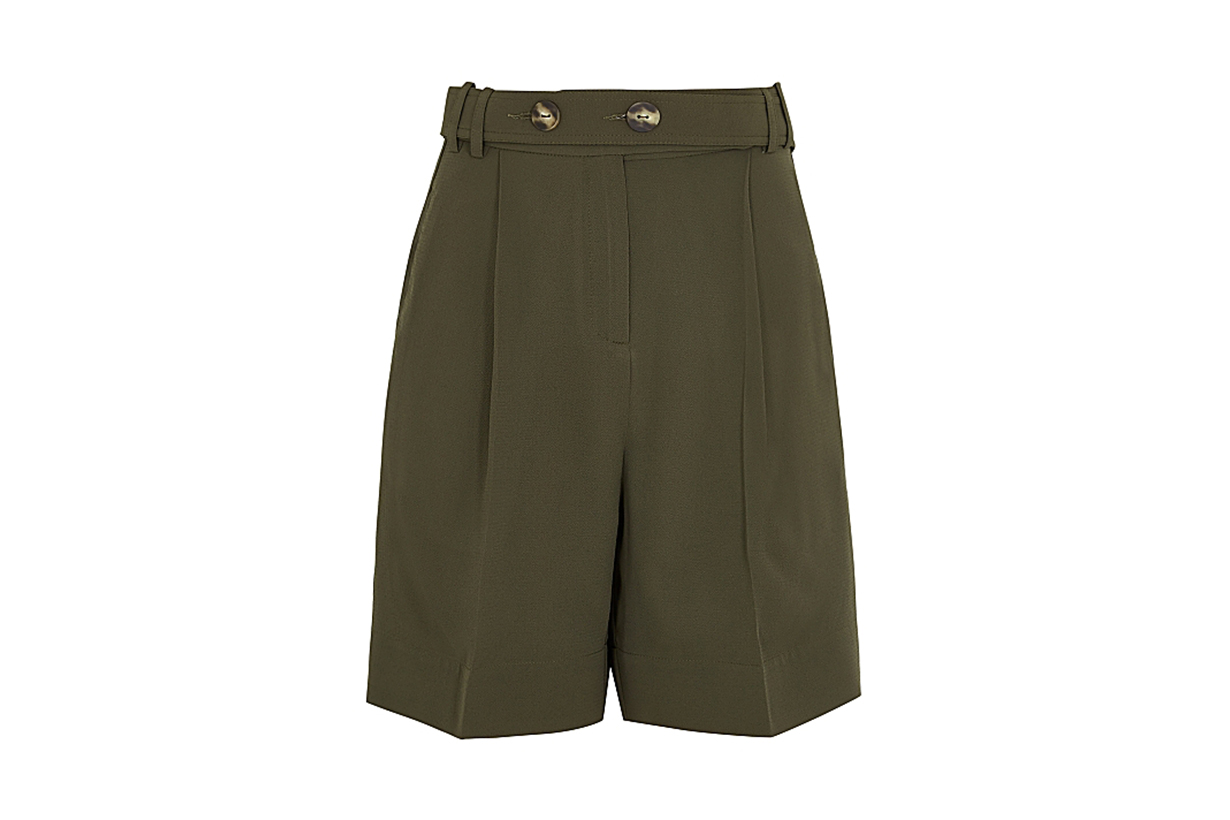 EUDON CHOI Harrison army green belted shorts