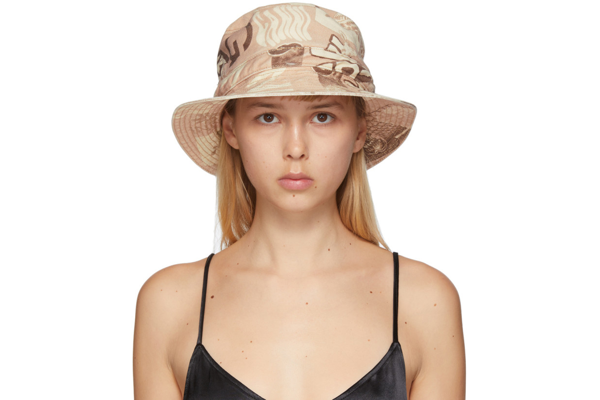 GANNI Tan Denim Printed Bucket Hat