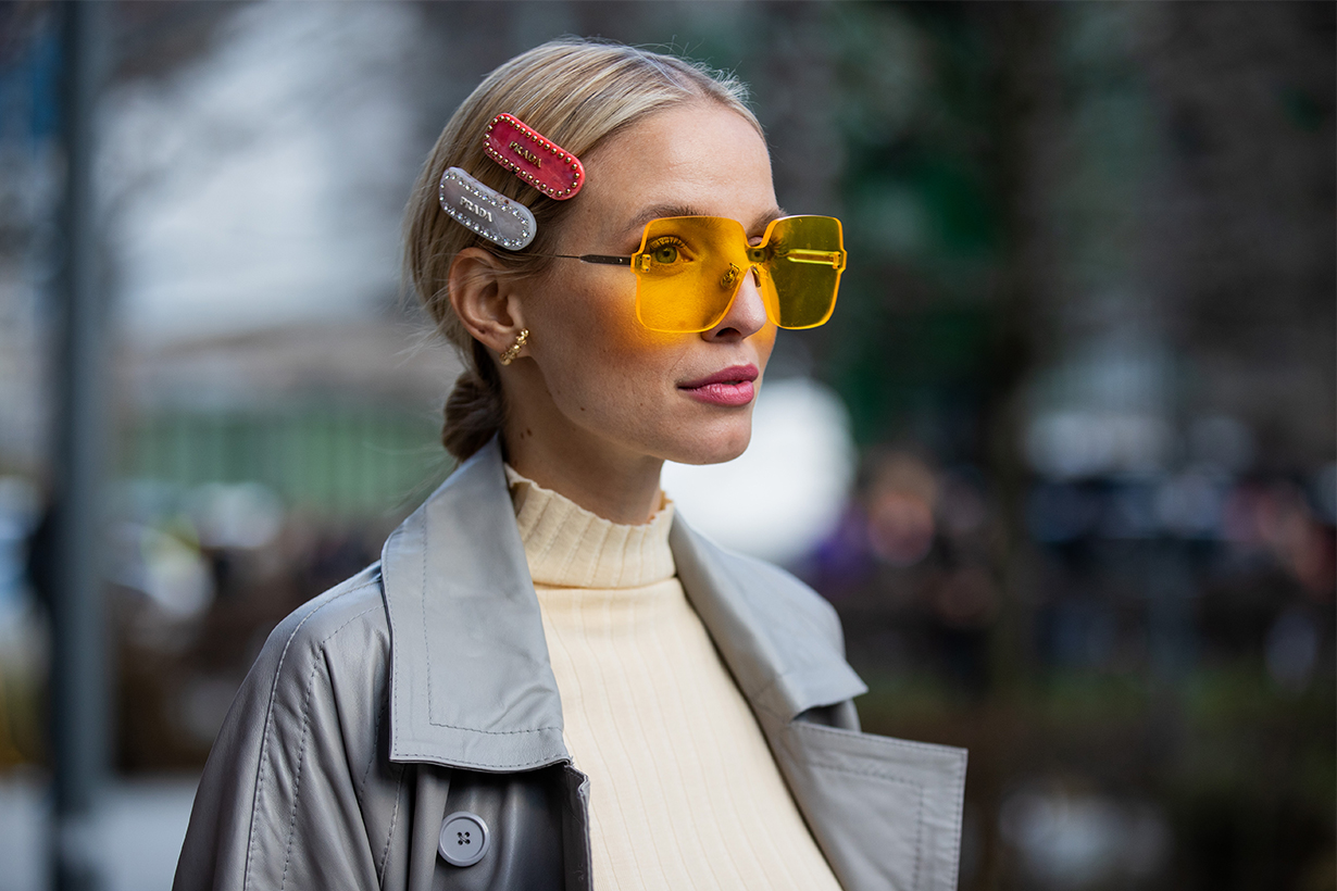 Leonie Hanne is seen wearing Prada hair clip outside Christopher Kane during London Fashion Week February 2020 on February 17, 2020 in London, England.