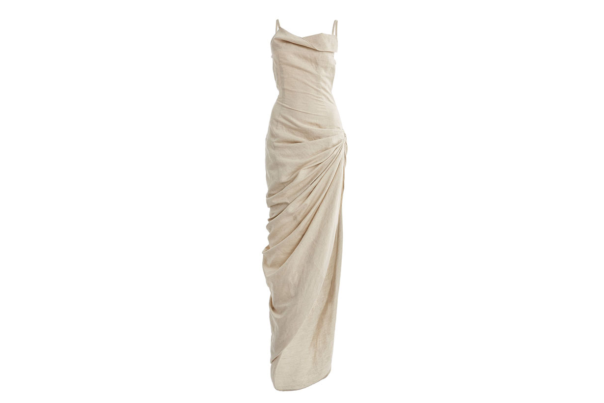 Jacquemus Saudade Gathered Cotton-Blend Maxi Dress