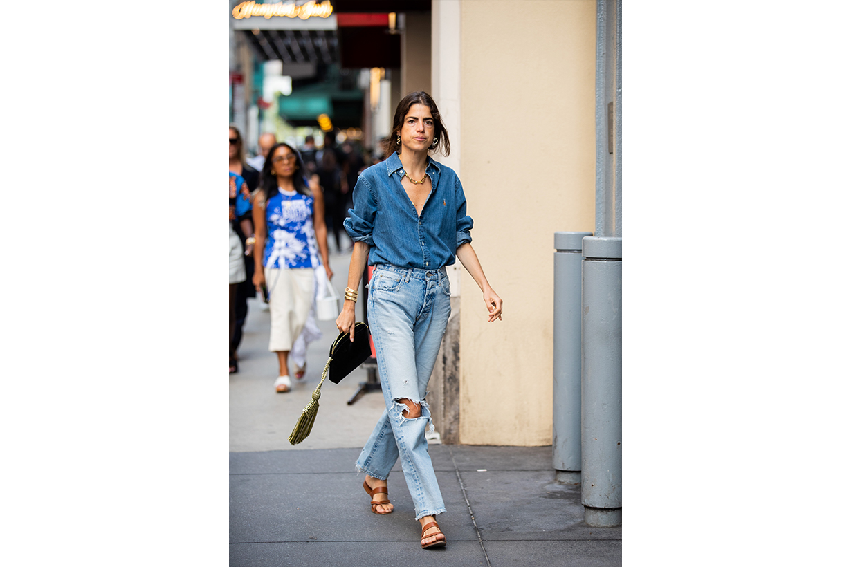 Leandra Medine is seen wearing ripped denim jeans, button shirt outside Tibi during New York Fashion Week September 2019 on September 08, 2019 in New York City.
