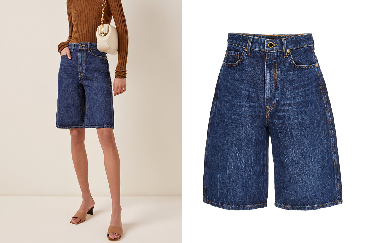 Khaite Mitch Rigid High-Rise Denim Shorts