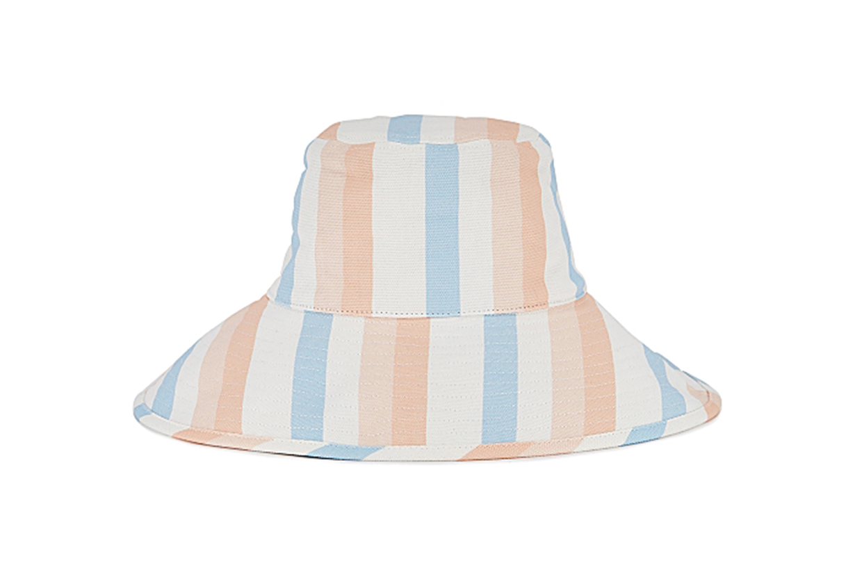 LACK OF COLOR Holiday striped twill bucket hat