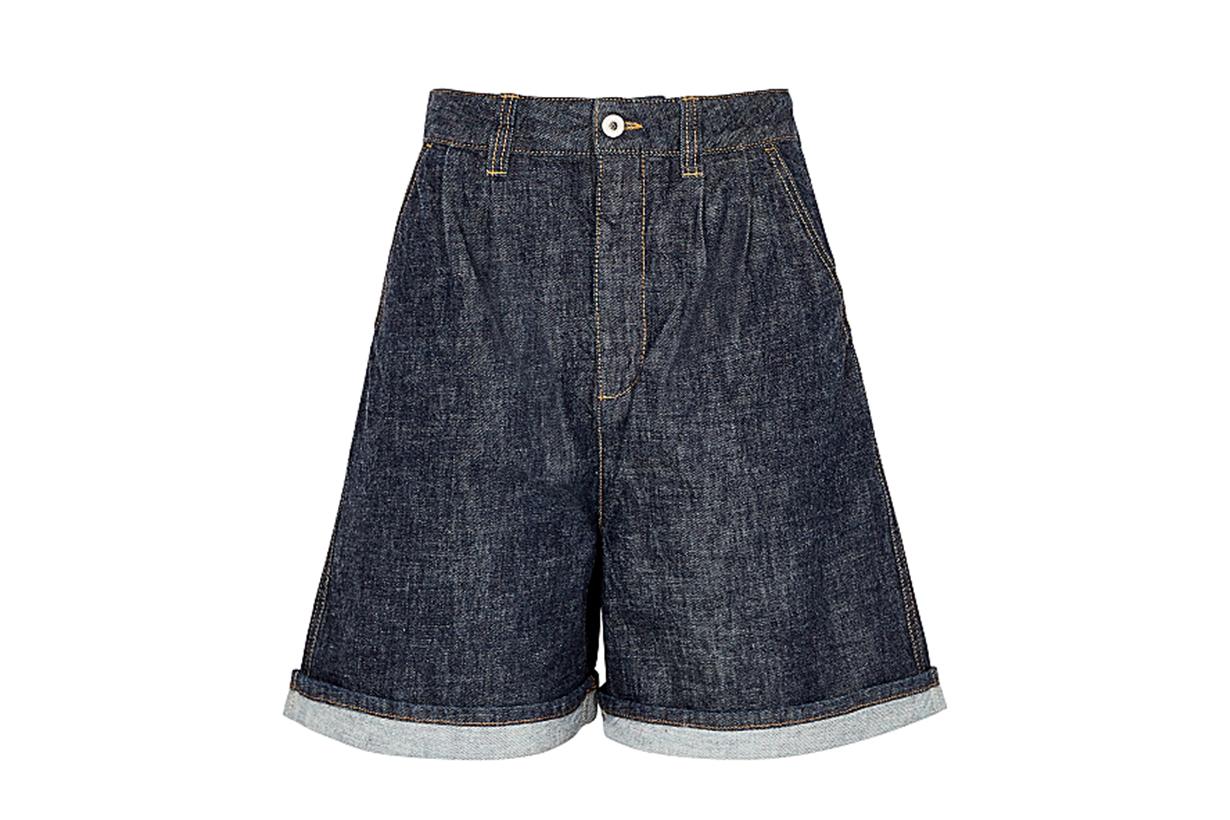 LOEWE Dark blue wide-leg denim shorts