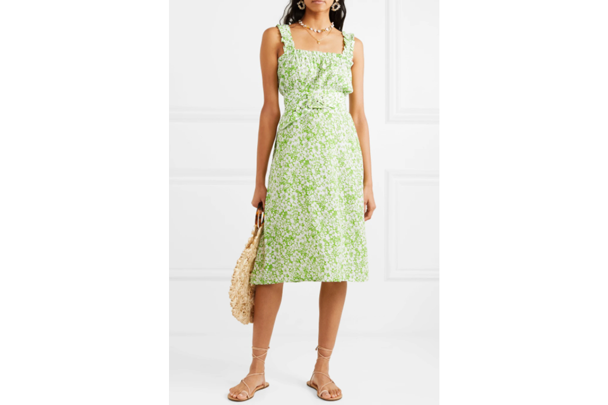 Mae belted ruffled floral-print crepe dress