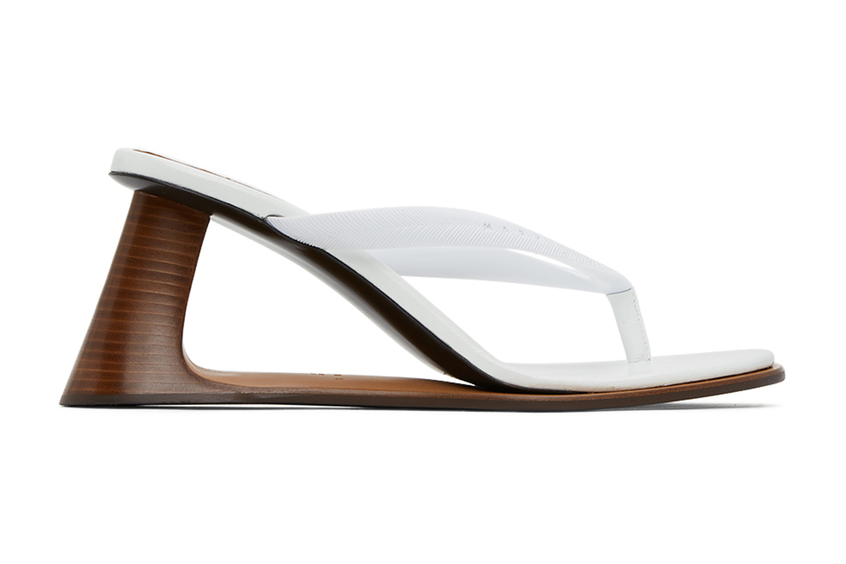 Marni White Open Heeled Thong Sandals