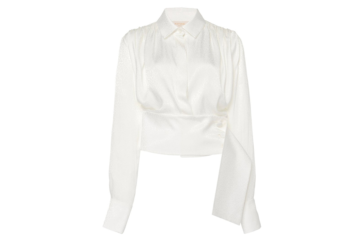 MATÉRIEL Cropped Belted Woven Blouse