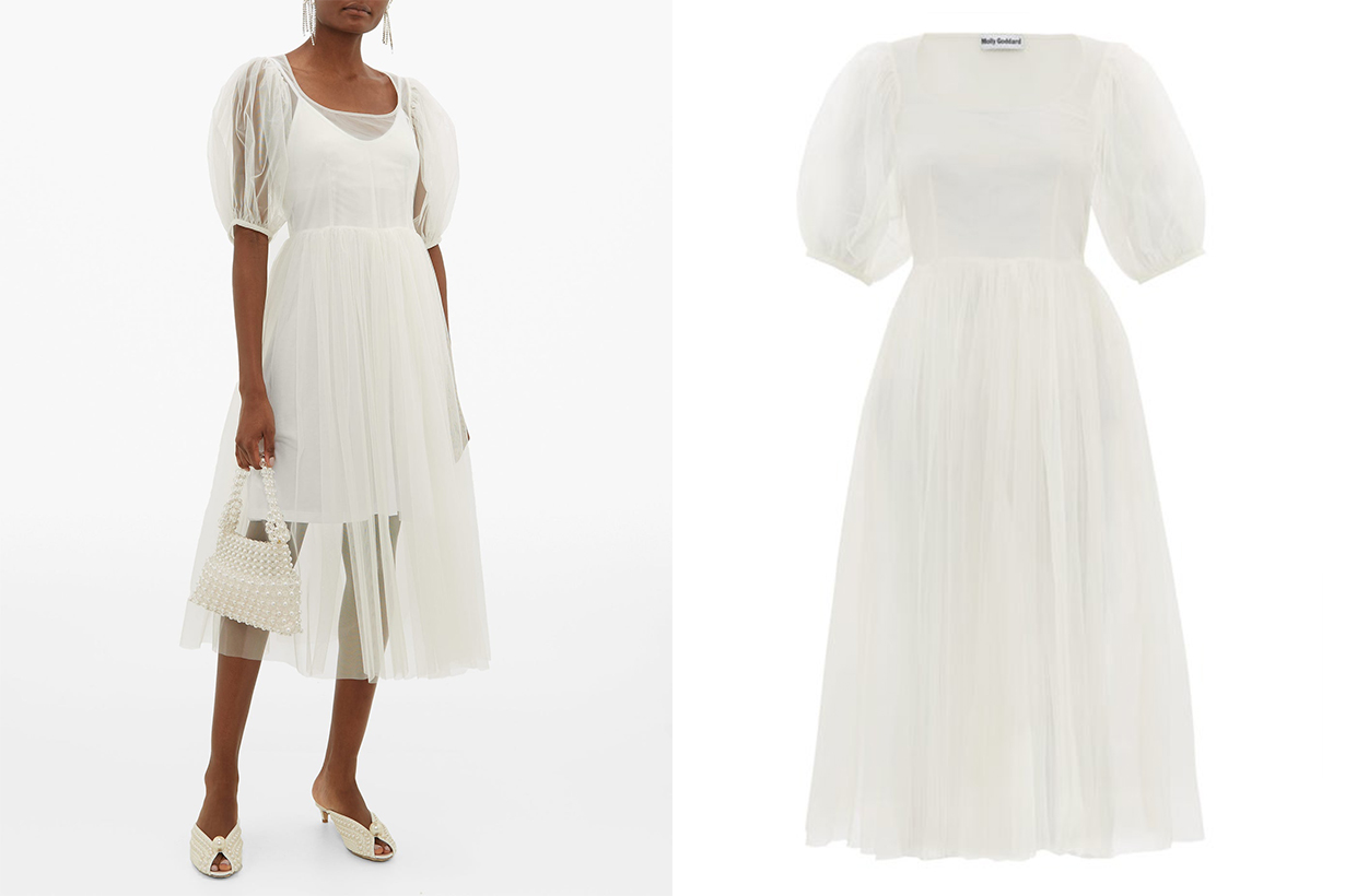 MOLLY GODDARD Tilly puff-sleeved tulle midi dress