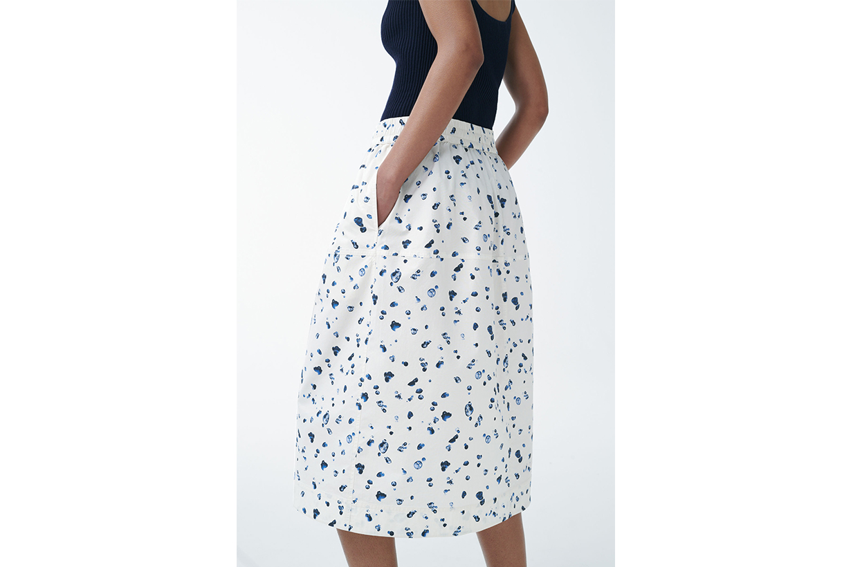 ORGANIC COTTON DROPLET PRINT A-LINE SKIRT