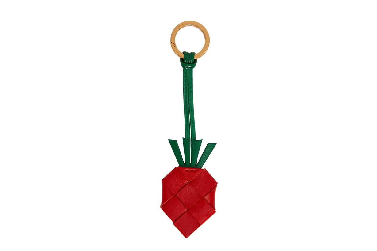 Red Intrecciato Strawberry Keychain