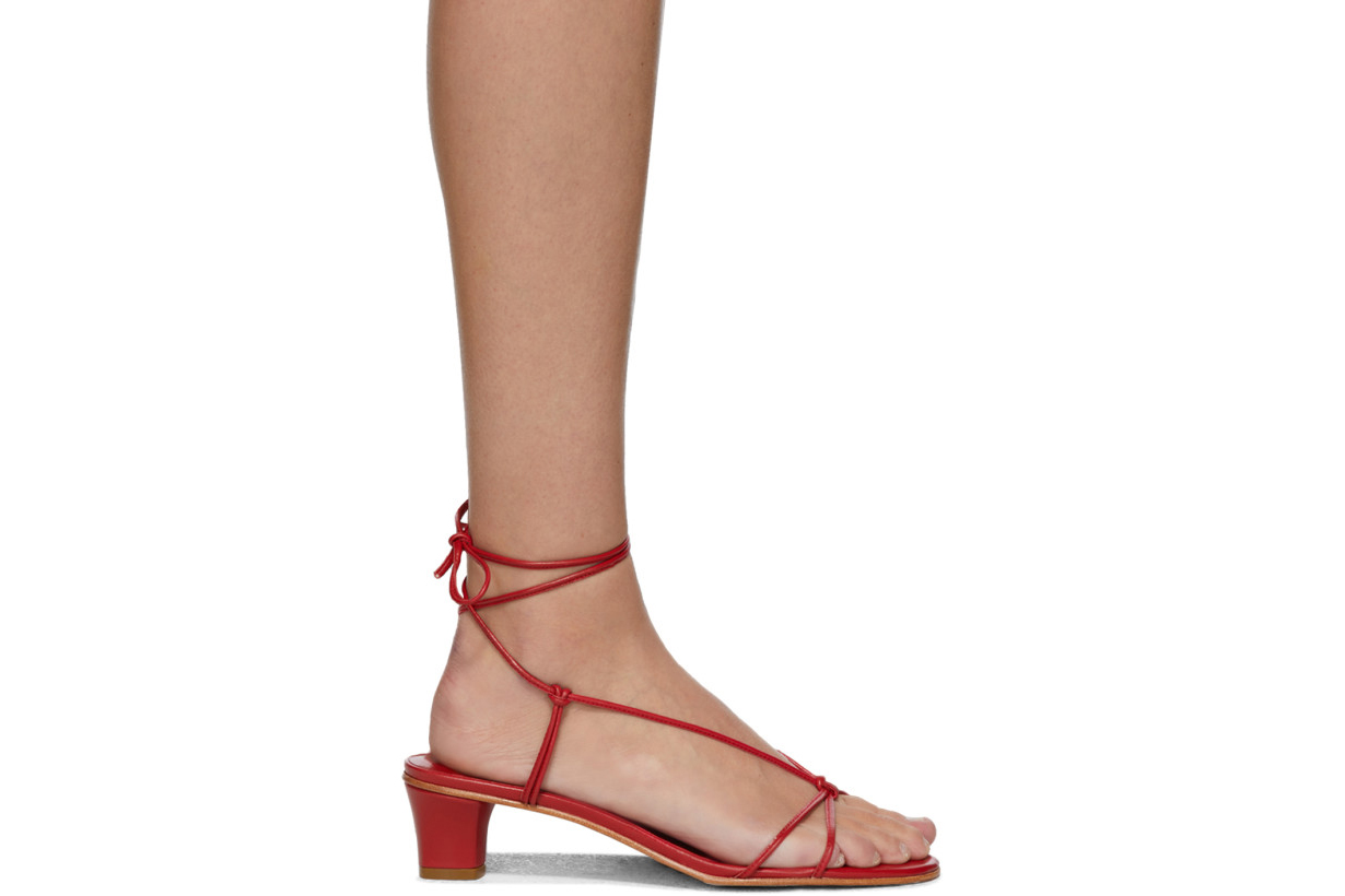 Red Spaghetti Heeled Sandals