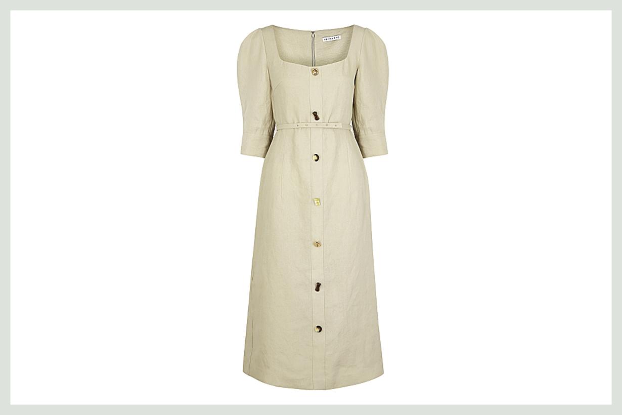 REJINA PYO Leonie stone linen midi dress