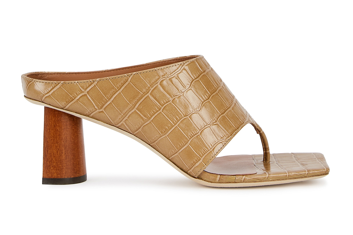 REJINA PYO Lina 60 camel crocodile-effect leather mules