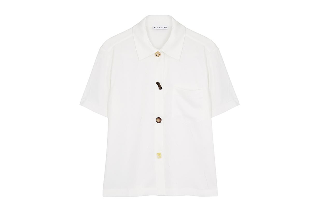 REJINA PYO Nico ivory matte satin shirt