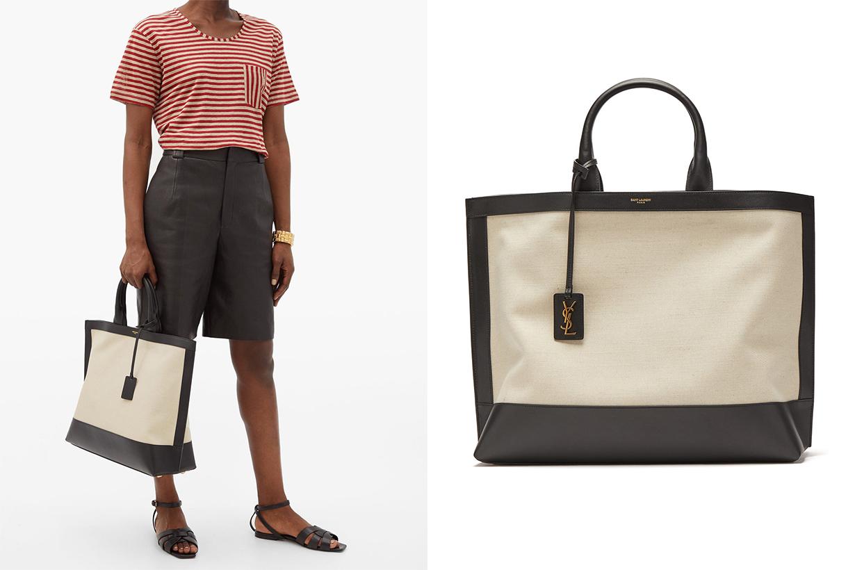 Saint Laurent Paris YSL Tote Bag Cabas leather and canvas tote bag Handbag Trend 2020 Summer