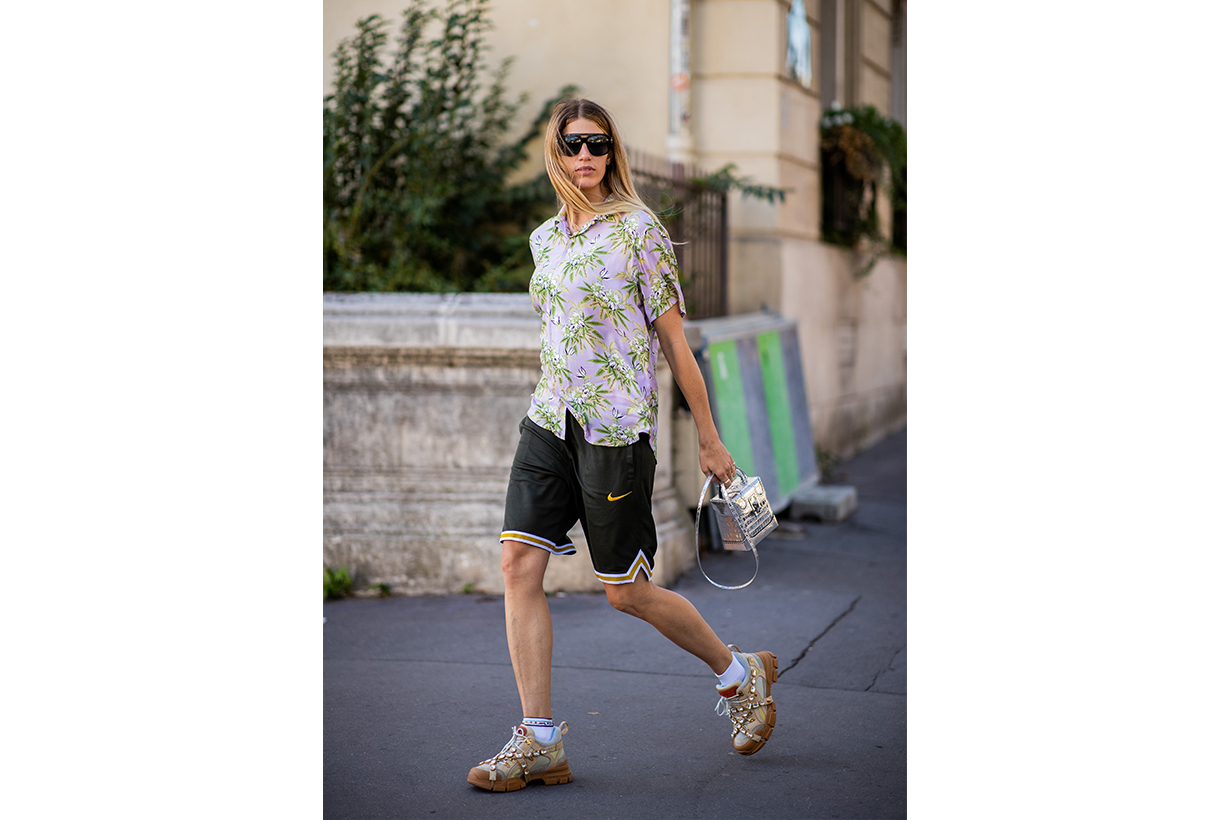 Veronika Heilbrunner wearing Nike shorts is seen outside Dries van Noten during Paris Fashion Week Womenswear Spring/Summer 2019 on September 26, 2018 in Paris, France.