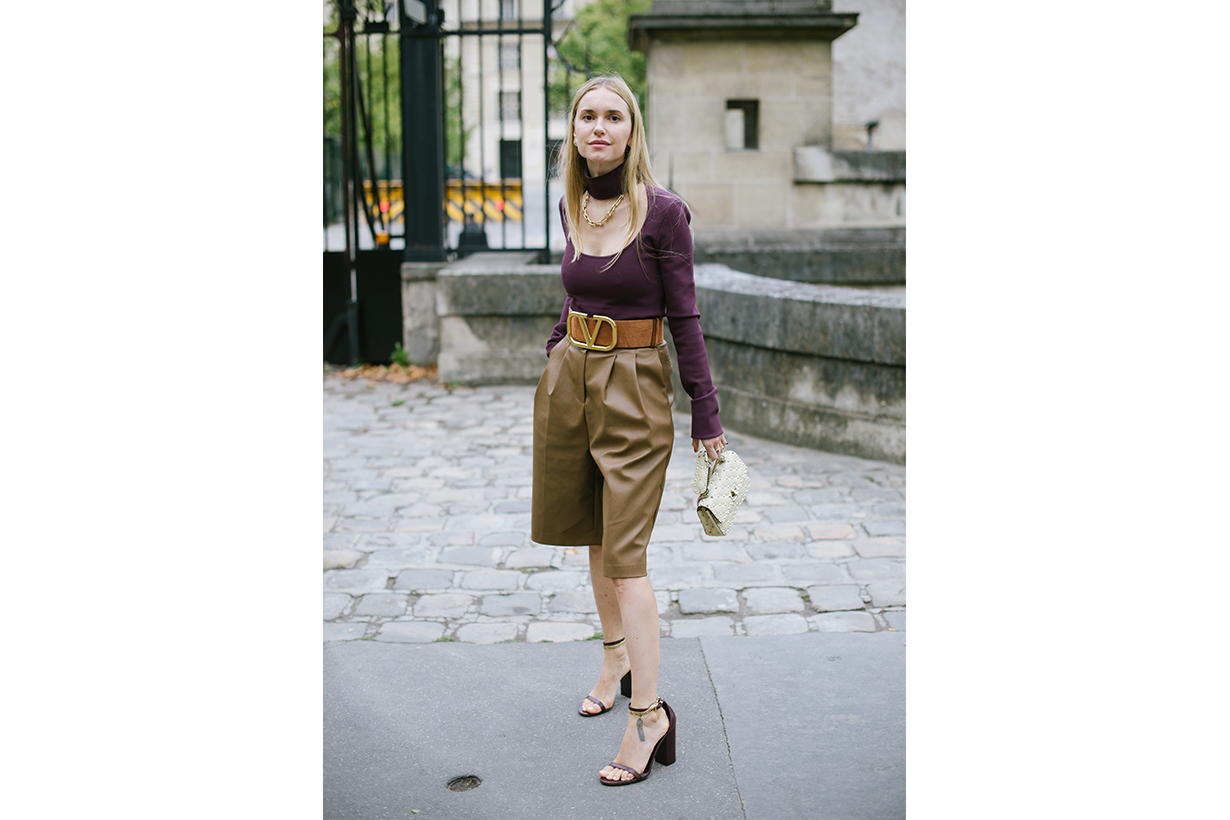 Pernille Teisbaek poses wearing Valentino after the Valentino show during Paris Fashion Week - Womenswear Spring Summer 2020 on September 29, 2019 in Paris, France.