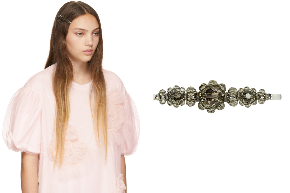 Simone Rocha Grey Large Flower Hair Clip