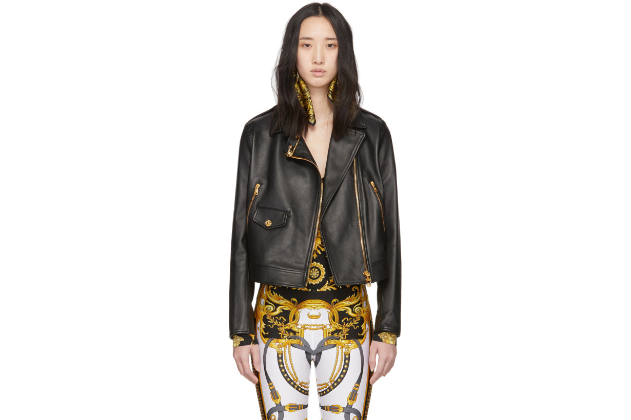 Versace Black Safety Pin Moto Jacket