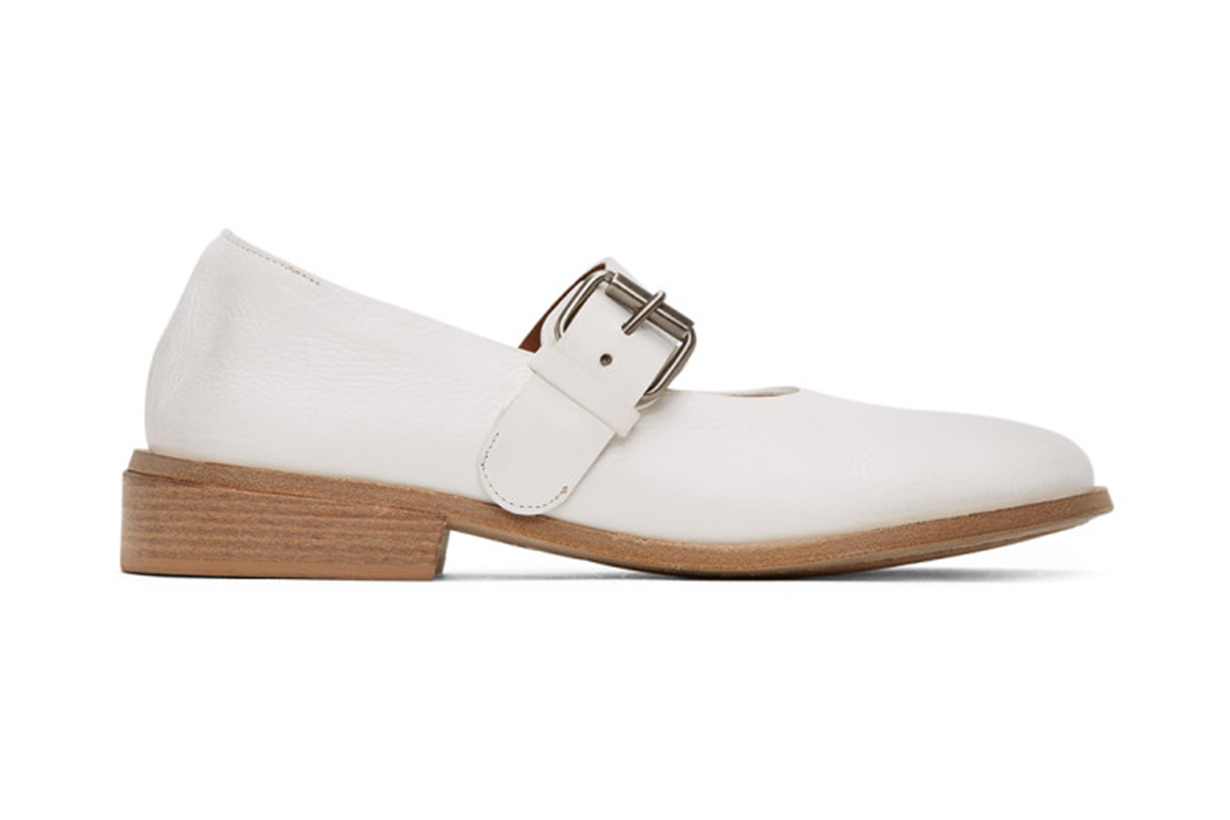 White Buckle Marcellina Shoes