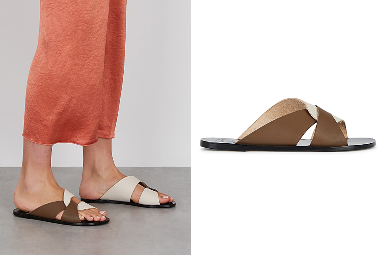 Allai two-tone leather sliders