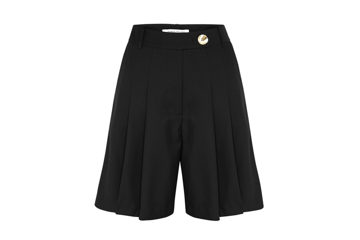 Anna Quan Oscar Pleated Wool-Blend Shorts