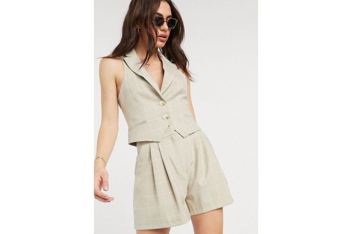 ASOS DESIGN Suit in camel grid check
