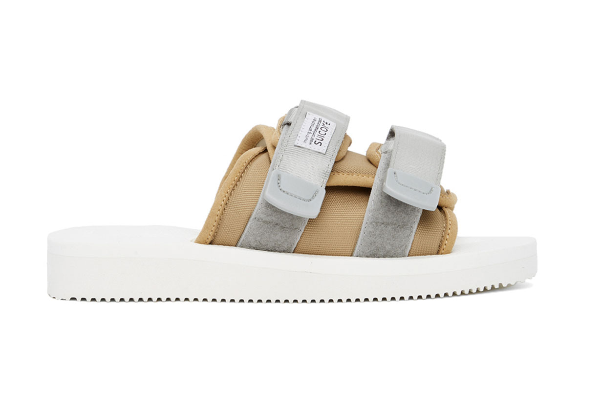 Beige & White MOTO-Cab Sandals