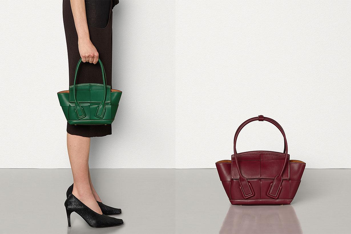 Green and burgundy mini arco bag