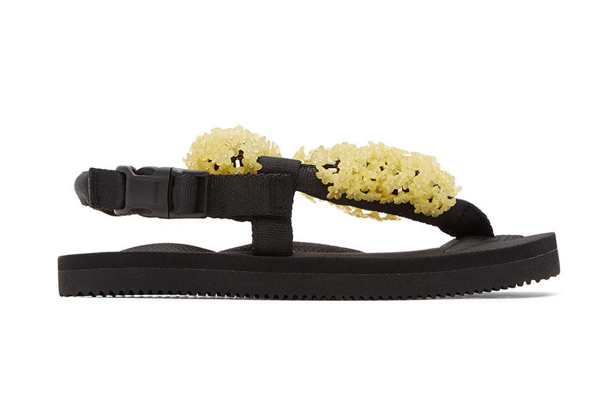 Cecilie Bahnsen Black & Yellow Suicoke Edition Floral Sandal