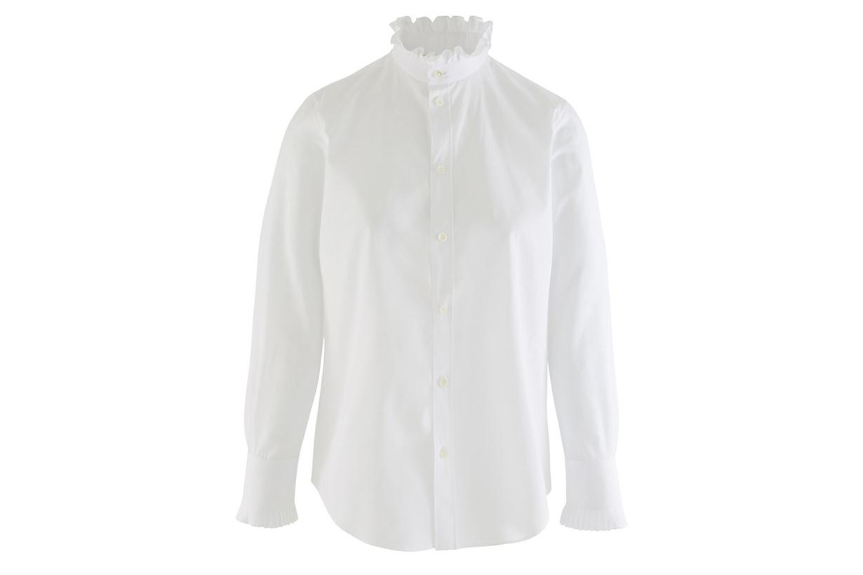 CELINE Frilled classic-collar cotton poplin shirt