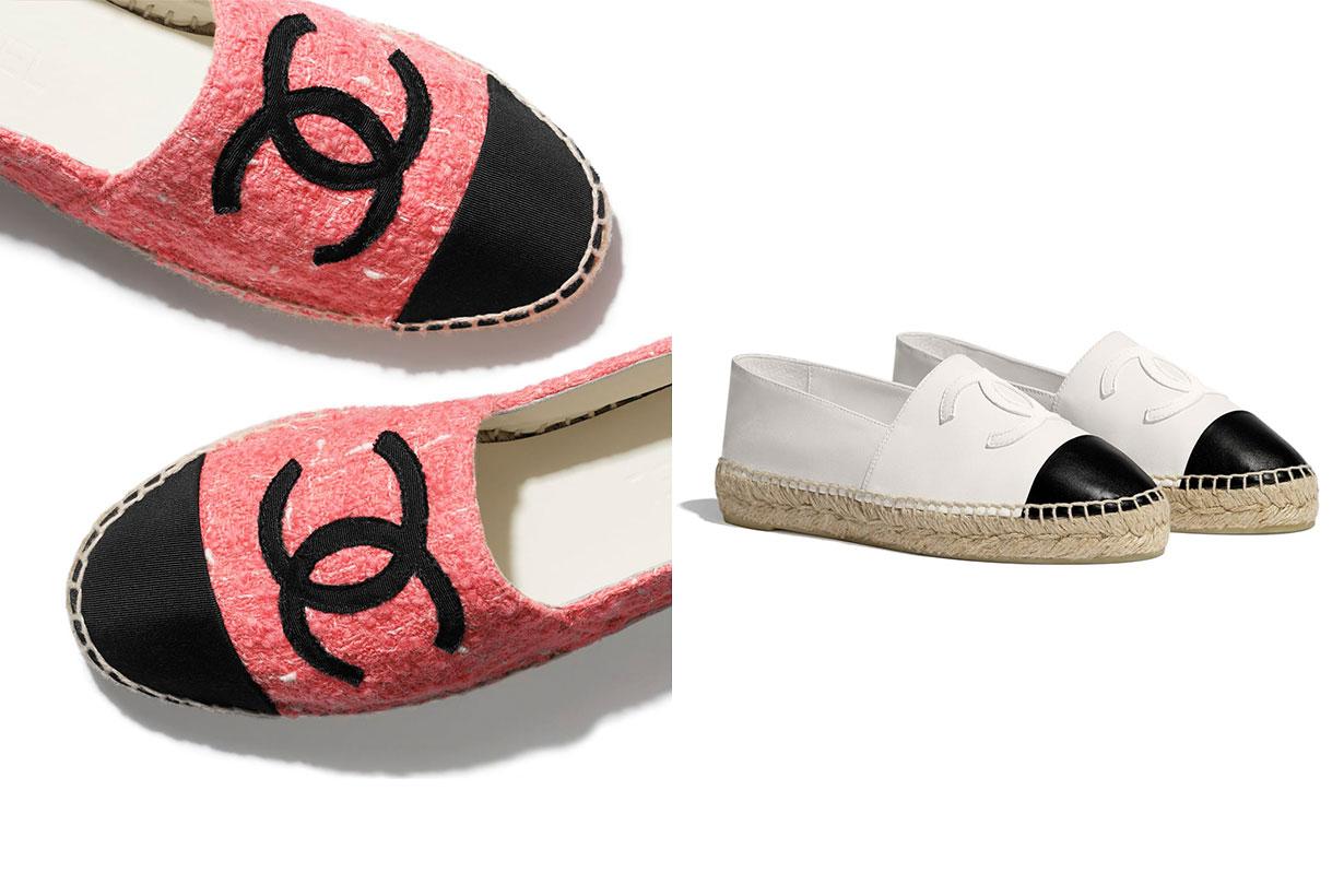 Chanel Tweed & Grosgrain Pink & Black Espadrilles